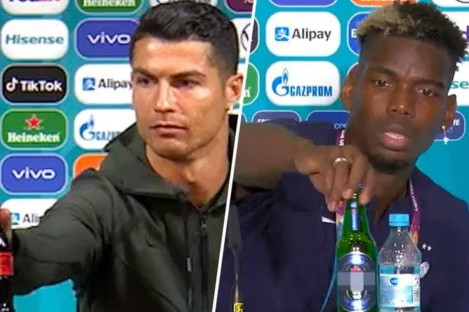 В УЕФА потребовали от футболистов не трогать бутылки спонсоров на пресс-конференциях